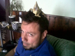 Terrified with a Chameleon on my head...